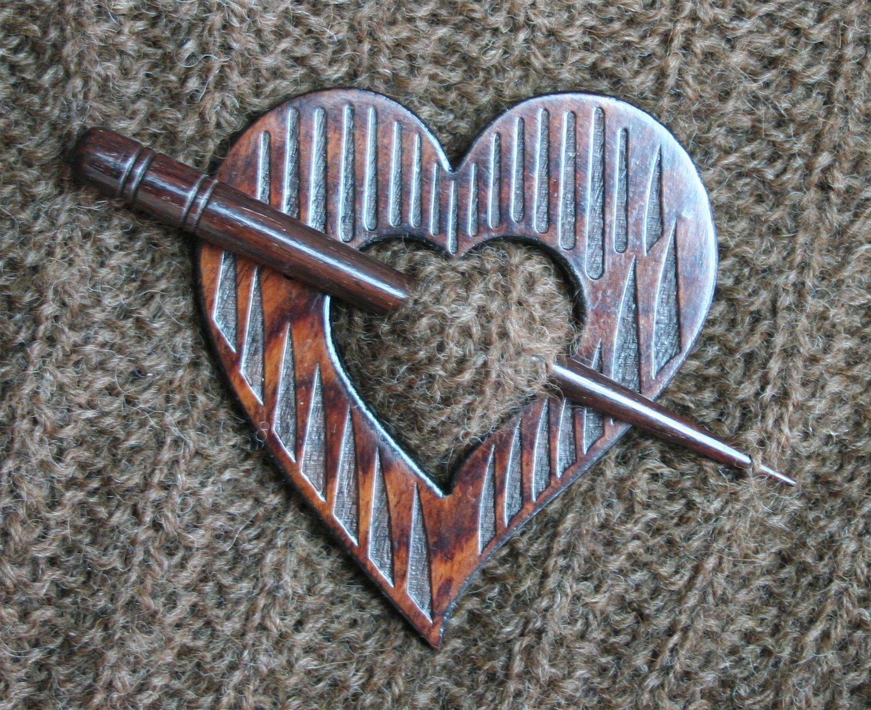 Shawl Pin Wood Heart